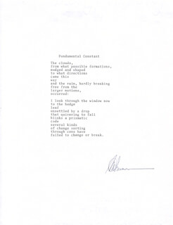A. R. AMMONS - POEM SIGNED