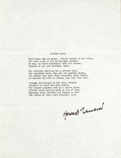 HOWARD NEMEROV - TYPESCRIPT SIGNED