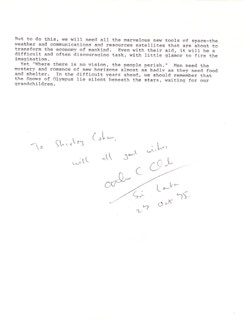 Autographs: SIR ARTHUR C. CLARKE - INSCRIBED TYPESCRIPT SIGNED