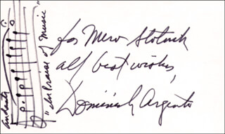 Autographs: DOMINICK ARGENTO - INSCRIBED AUTOGRAPH MUSICAL QUOTATION SIGNED