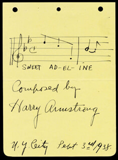 HARRY ARMSTRONG - AUTOGRAPH MUSICAL QUOTATION SIGNED 09/03/1938