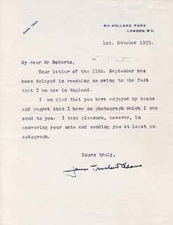 JAMES TRUSLOW ADAMS - TYPED LETTER SIGNED 10/01/1935