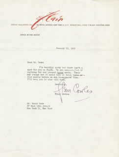 FLEUR COWLES - TYPED LETTER SIGNED 01/25/1950