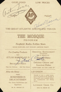 J. FRED COOTS - PROGRAM SIGNED CO-SIGNED BY: ARTHUR TRACY, ALICE WEAVER