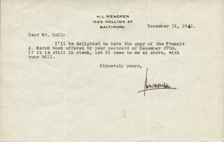 H. L. (HENRY LOUIS) MENCKEN - TYPED LETTER SIGNED 12/31/1943