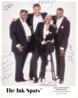 THE INK SPOTS - AUTOGRAPHED INSCRIBED PHOTOGRAPH CO-SIGNED BY: THE INK SPOTS (SONNY HATCHETT), THE INK SPOTS (GRANT KITCHINGS), THE INK SPOTS (ELLIS SMITH), THE INK SPOTS (HAROLD WINLEY)