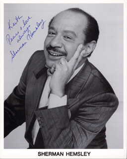 SHERMAN HEMSLEY - INSCRIBED PRINTED PHOTOGRAPH SIGNED IN INK
