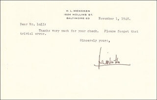H. L. (HENRY LOUIS) MENCKEN - TYPED LETTER SIGNED 11/01/1948