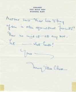 MARY ELLEN CHASE - AUTOGRAPH LETTER SIGNED 8/19