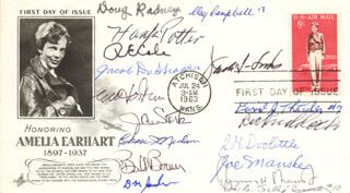 DOOLITTLE RAIDERS - FIRST DAY COVER SIGNED CO-SIGNED BY: COLONEL JOSEPH W. MANSKE, DOUGLAS V. RADNEY, DAVID J. THATCHER, LT. COLONEL CHASE J. NIELSEN, JACOB DE SHAZER, EDWIN W. HORTON JR., COLONEL WILLIAM M. BILL BOWER, COLONEL RICHARD E. COLE, BRIGADIER GENERAL RICHARD KNOBLOCH, COLONEL JACK A. SIMS, HENRY A. POTTER, COLONEL CLAYTON J. CAMPBELL, CAPTAIN J. ROYDEN STORK, LT. COLONEL HORACE E. SALLY CROUCH, BRIGADIER GENERAL JAMES H. JIMMY DOOLITTLE, BERT M. JORDAN, JAMES H. MACIA