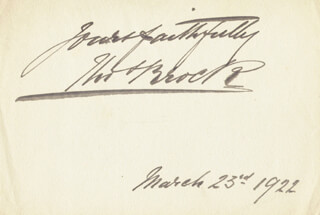 SIR THOMAS BROCK - AUTOGRAPH SENTIMENT SIGNED 03/23/1922