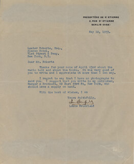 Autographs: LOUIS BROMFIELD - TYPED LETTER SIGNED 05/10/1933