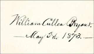 Autographs: WILLIAM CULLEN BRYANT - SIGNATURE(S) 05/05/1873