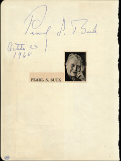 PEARL S. BUCK - AUTOGRAPH 10/23/1965 CO-SIGNED BY: FRANKLIN CLARK FRY