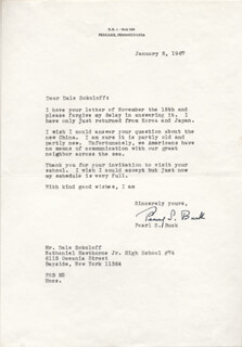 PEARL S. BUCK - TYPED LETTER SIGNED 01/05/1967