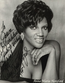 ANNA MARIA HORSFORD - AUTOGRAPHED INSCRIBED PHOTOGRAPH 11/24/1994