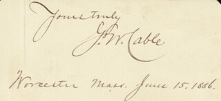 GEORGE WASHINGTON CABLE - AUTOGRAPH SENTIMENT SIGNED 06/15/1886