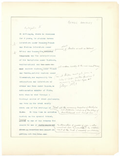GEORGE BANCROFT - ANNOTATED TYPED MANUSCRIPT UNSIGNED