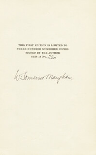 W. SOMERSET MAUGHAM - BOOK PAGE SIGNED
