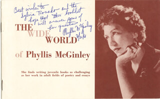 PHYLLIS McGINLEY - INSCRIBED PAMPHLET SIGNED 03/21/1961