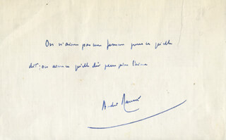 Autographs: ANDRE MAUROIS - AUTOGRAPH QUOTATION SIGNED