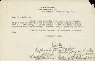 H. L. (HENRY LOUIS) MENCKEN - TYPED LETTER SIGNED 02/23/1931