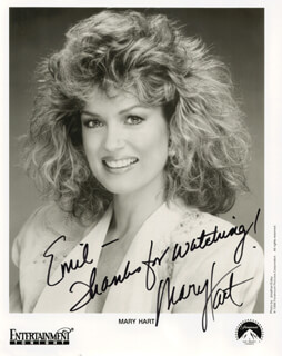 MARY HART - INSCRIBED PRINTED PHOTOGRAPH SIGNED IN INK