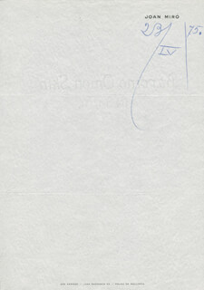 JOAN MIRO - AUTOGRAPH DOCUMENT UNSIGNED 04/23/1975