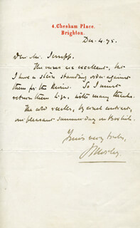 JOHN 1ST VISCOUNT OF BLACKBURN MORLEY - AUTOGRAPH LETTER SIGNED 12/04/1895