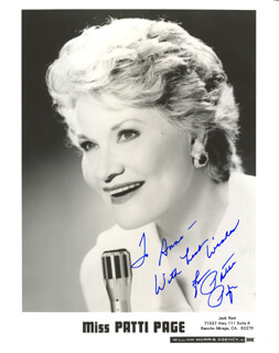 PATTI PAGE - AUTOGRAPHED INSCRIBED PHOTOGRAPH  - HFSID 185628