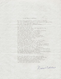 RICHARD EBERHART - POEM SIGNED