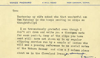 VANCE PACKARD - TYPED LETTER SIGNED CIRCA 1960