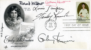 LOUIS SIMPSON - FIRST DAY COVER SIGNED CO-SIGNED BY: GALWAY KINNELL, W.D. SNODGRASS, STANLEY KUNITZ, RICHARD WILBUR, ANTHONY E. HECHT