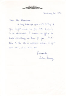 JOHN HERSEY - AUTOGRAPH LETTER SIGNED 02/20/1972