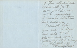 WILLIAM ORDWAY PARTRIDGE - AUTOGRAPH LETTER SIGNED 12/07/1903