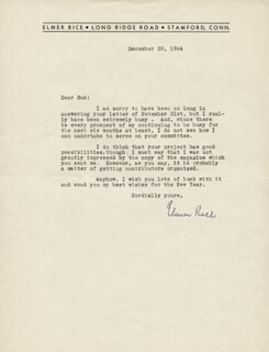 ELMER RICE - TYPED LETTER SIGNED 12/29/1944