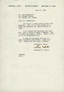 THEODORE H. WHITE - TYPED LETTER SIGNED 05/13/1981