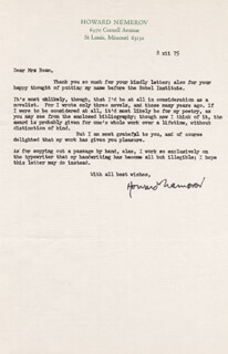 HOWARD NEMEROV - TYPED LETTER SIGNED 12/08/1975