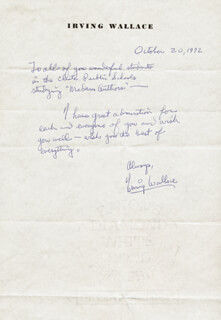 IRVING WALLACE - AUTOGRAPH LETTER SIGNED 10/20/1972