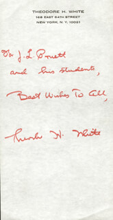 THEODORE H. WHITE - AUTOGRAPH NOTE SIGNED