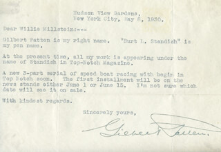 GILBERT PATTEN - TYPED LETTER SIGNED 05/08/1930