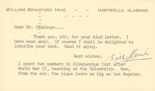 WILLIAM BRADFORD HUIE - TYPED LETTER SIGNED CIRCA 1966