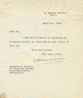 EDWARD PHILLIPS OPPENHEIM - TYPED LETTER SIGNED 07/26/1926