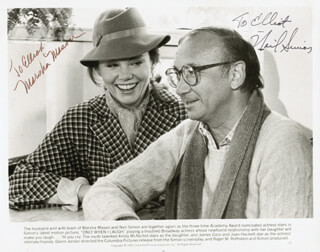 ONLY WHEN I LAUGH MOVIE CAST - AUTOGRAPHED INSCRIBED PHOTOGRAPH CO-SIGNED BY: NEIL DOC SIMON, MARSHA MASON