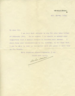 ARTHUR W. PINERO - TYPED LETTER SIGNED 03/04/1916
