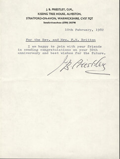J.B. (JOHN) PRIESTLEY - TYPED NOTE SIGNED 02/10/1982