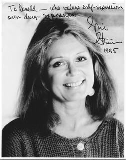 GLORIA STEINEM - AUTOGRAPHED INSCRIBED PHOTOGRAPH 1995