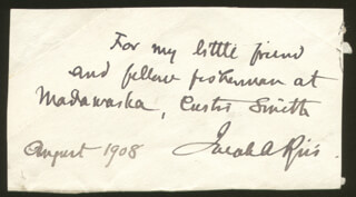 JACOB AUGUST RIIS - AUTOGRAPH NOTE SIGNED 8/1908