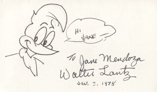 WALTER LANTZ - INSCRIBED ORIGINAL ART SIGNED 01/03/1978