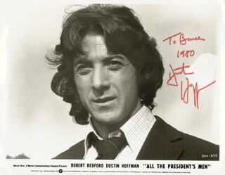 DUSTIN HOFFMAN - INSCRIBED PRINTED PHOTOGRAPH SIGNED IN INK 1980